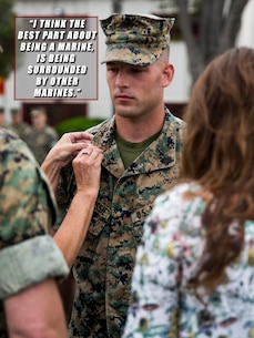 U.S. Marine Sgt. Jacob Ludovissie, networking noncommissioned officer in charge with the 13th Marine Expeditionary Unit, is promoted at Camp Pendleton, Calif.