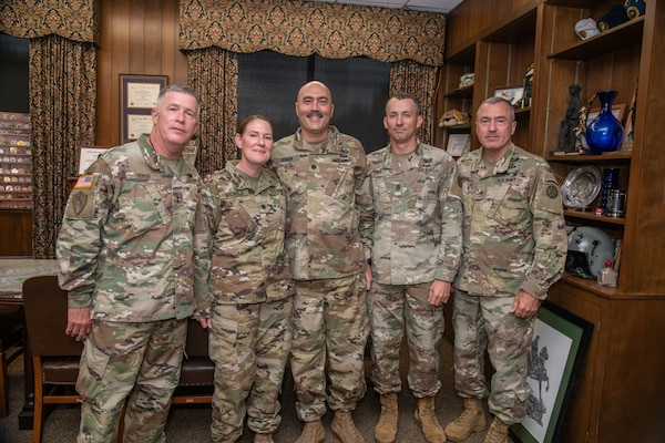 Commander of the West Virginia National Guard's Army Interagency Training and Education Center (AITEC) Chemical, Biological, Radiological, Nuclear, and High Yield Explosive (CBRNE) Battalion, Gina Nichols, was promoted to lieutenant colonel at Joint Force Headquarters in Charleston, W.Va., Aug. 27, 2019. In attendance were (from left to right) Maj. Gen. James Hoyer, Nichols, Lt. Col. James Bowen, Command Sgt. Maj. James Jones and Brig. Gen. Russell Crane.