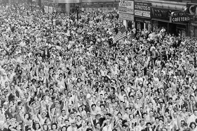 Massive crowd celebrates.
