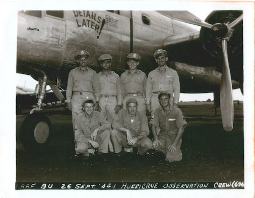 Crew of Details Later!, one of the two B-25s of the Hurricane Reconnaissance Unit at Morrison Field. Capt. Allen C. Wiggins, pilot, is at the end right, back row, and Capt. Billy B. Boothe, navigator, second from the left on the back row. The aircrew consisted of a pilot, co-pilot, navigator, meterologist, radio operator, engineer, and crew chief. (Official U.S. Army Air Force photo)