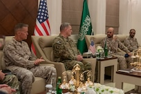 my Gen. Mark A. Milley, chairman of the Joint Chiefs of Staff, is hosted by Royal Saudi Air Force Air Chief Marshal Fayyadh Al Ruwaili, chairman of the Joint Chiefs of Staff of the Kingdom of Saudi Arabia, at the ministry of defense in Riyadh, Saudia Arabia, Nov. 26, 2019.