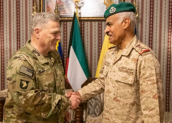 Army Gen. Mark A. Milley, chairman of the Joint Chiefs of Staff, is hosted by Kuwait Army Lt. Gen. Mohammed Khaled Al-Khadher, chief of the General Staff,  in Kuwait City, Nov. 26, 2019.