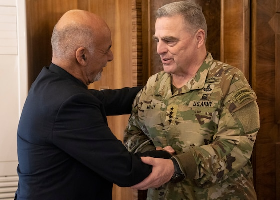 Army Gen. Mark A. Milley, chairman of the Joint Chiefs of Staff, meets with President of Afghanistan Ashraf Ghani at the Presidential Palace in Kabul, Afghanistan, Nov. 28, 2019.