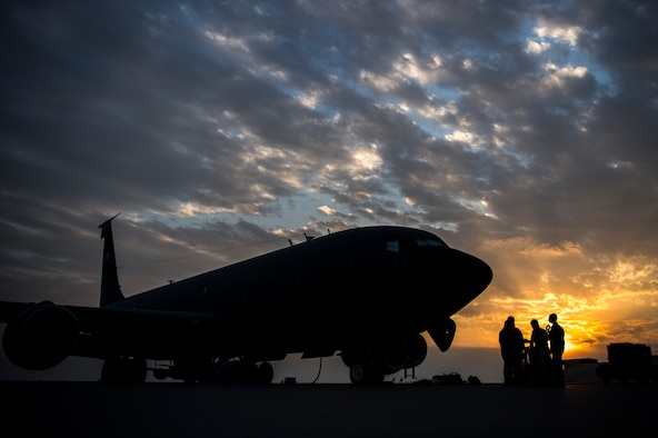 U.S. Air Force KC-135 pilots with the 28th Expeditionary Air Refueling Squadron land at Al Udeid Air Base, Nov. 24, 2019.