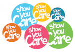 6 colored circles that shay show you care in white text