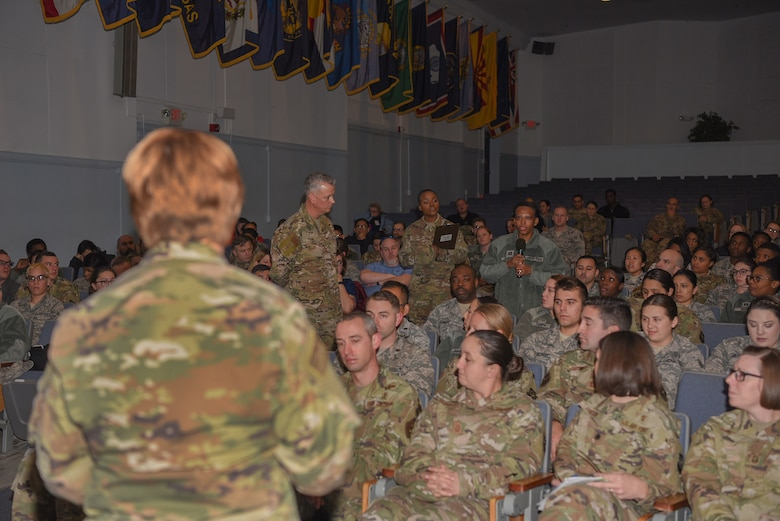 Lt. Gen. Dorothy Hogg, U.S. Air Force Surgeon General, and Chief Master Sgt. G. Steve Cum, Chief of the Medical Enlisted Force, host an all call for the 87th Medical Group during a tour at Joint Base McGuire-Dix-Lakehurst, N.J., Nov. 21, 2019. During the all call, medical staff had an opportunity to address questions or concerns directed toward military medicine and the future of programs, patient care and training. Hogg spoke of the importance to not only think outside of the box, but to think without the box and challenge the boundaries and guidelines provided to medical professionals. (U.S. Air Force photo by Airman 1st Class Ariel Owings)