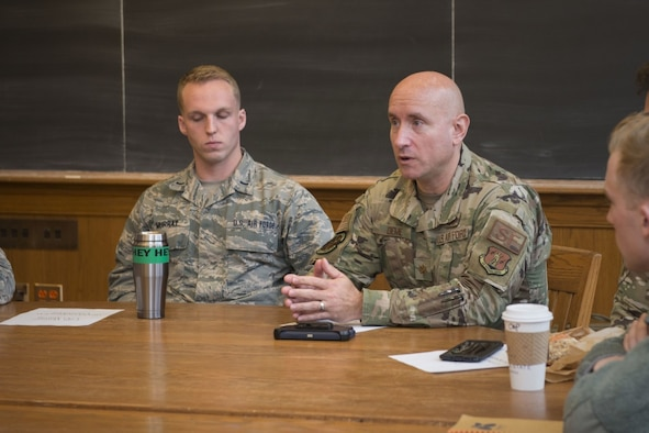 U.S. Air Force Maj. William Deme (right), commander of the Security Forces Squadron assigned to the 103rd Airlift Wing, Connecticut Air National Guard, speaks to cadets assigned to Air Force ROTC Detachment 009 at Yale University, during a panel discussion, November 14, 2019. (U.S. Air National Guard photo by Tech. Sgt. Tamara R. Dabney)