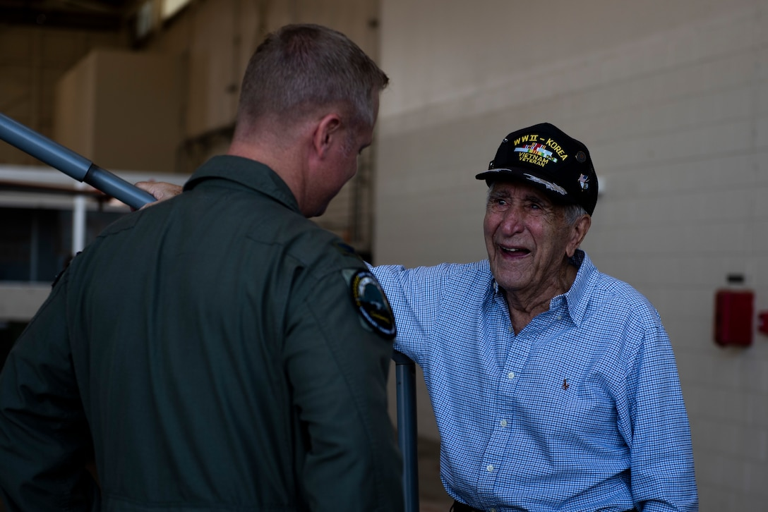 U.S. Air Force Col. Brian Laidlaw, 325th Fighter Wing commander, left, speaks to Retired U.S. Air Force Lt. Col. Daniel Daube, right, at Tyndall Air Force Base, Florida, Nov. 27, 2019. Daube was a veteran of World War II, Korean, and Vietnam war, flying multiple air frames and combat missions. Daube visited Tyndall's air traffic control tower, saw planes launch off the runway, and visited a QF-16 Fighting Falcon hangar and sat in the cockpit of an aircraft. (U.S. Air Force photo by Staff Sgt. Magen M. Reeves)