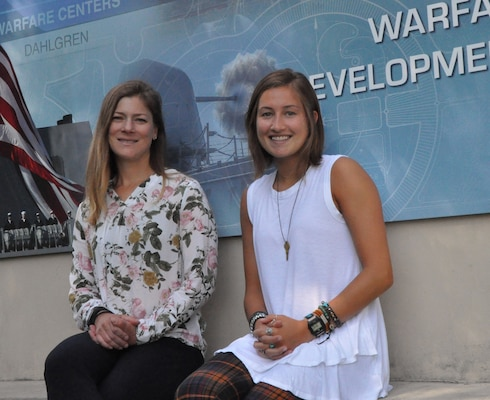 DAHLGREN, Va. (July 12, 2019) – U.S. Naval Academy Midshipman Natalie LaPlaca, right, and her mentor, Laura Maple, a Naval Surface Warfare Center Dahlgren Division (NSWCDD) engineer, are pictured at NSWCDD headquarters during LaPlaca's summer internship. LaPlaca's work as an intern on human sensors – titled 'Correlating Sleep and Temperature Patterns in Navy Warfighters with Current and Future Health Status' – is her U.S. Naval Academy senior capstone project. (U.S. Navy photo/Released)