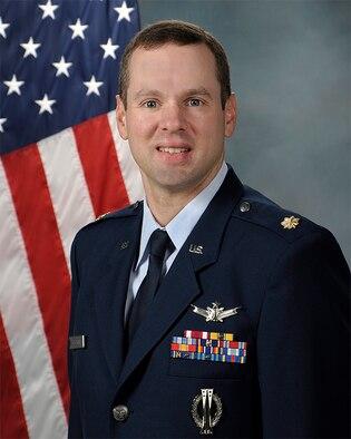 Official photo of Maj. David Hodgson, 21st Space Operations Squadron, Detachment 2, commander