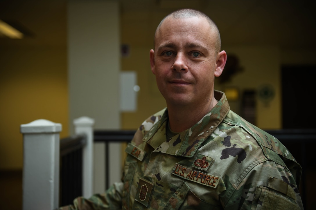 """Senior Master Sgt. Andrew Earll, 62nd Maintenance Squadron superintendent, poses for a photo on Joint Base Lewis-McChord, Wash., Nov. 26, 2019. He was one of the nine McChord Airmen selected this year for promotion to chief master sergeant, the highest enlisted rank in the Air Force.   """"Making chief master sergeant means the world to me and my family.  I love the Air Force and what it has done for us. It is an opportunity to continue to serve and grow, and develop future leaders. The Air Force is a team sport and a family.  Deciding what and who you want to be is important. Caring, putting in the time, the desire to do the best job you can every day and having the courage to have difficult conversations when needed are basic keys to success.  It is not about you but the positive impacts you have on others. When I first found out, I immediately thought of my first supervisors that took the time to teach how to be an Airman.  I owe them the world.  Supervisors need to be mindful of the impacts they can have on subordinates.""""  (U.S. Air Force photo by Airman 1st Class Mikayla Heineck)"""