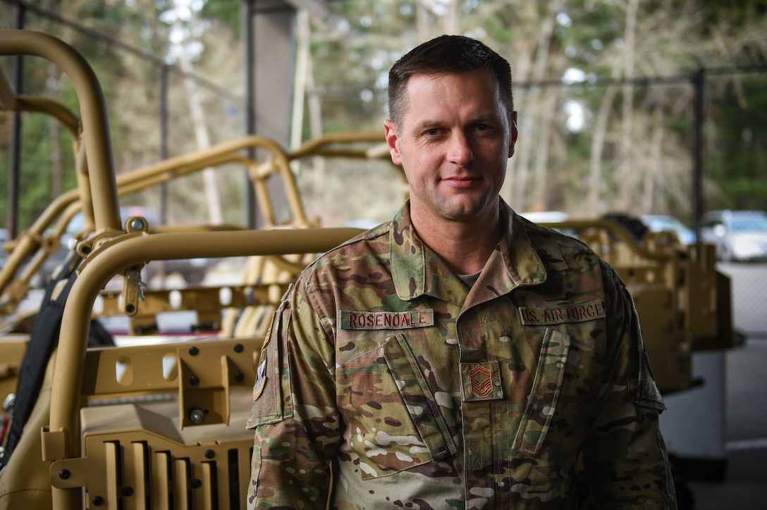 Senior Master Sgt. Chad Rosendale, 22nd Special Tactics Squadron operations superintendent, poses for a photo on Joint Base Lewis-McChord, Wash., Nov. 26, 2019. He was one of the nine McChord Airmen selected this year for promotion to chief master sergeant, the highest enlisted rank in the Air Force. 