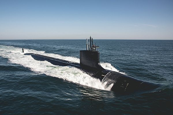 Official U.S. Navy file photo of Virginia-class submarine the future USS Delaware (SSN 791).