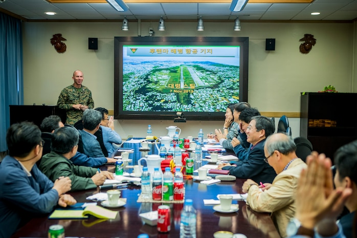 U.S. Marine Corps Col. David Steele, commanding officer of Marine Corps Air Station (MCAS) Futenma gives a brief to journalists during a base visit on Nov. 7, 2019. MCAS Futenma held the function for journalists visiting from the Republic of Korea to help build and foster friendly relations. (U.S. Marine Corps photo by Lance Cpl. Kindo Go