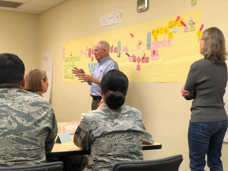 Bob Daffin from the Air Force Reserve Command at Robins Air Force Base, Georgia, offers insights to attendees at the Nov. 19-21 340th Flying Group continuous process improvement event at Joint Base San Antonio-Randolph, Texas, facilitated by his improvement process mentee, Teresa Davies Lt. Col. Sara Linck. The CPI event was held, to find solutions for issues that occur when Reservists transition between pay statuses. (U.S. Air Force photo by Janis El Shabazz)