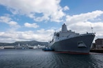 191202-N-KL617-1002 SASEBO, Japan (Dec. 2, 2019) San Antonio-class amphibious transport dock ship USS New Orleans (LPD 18) sits moored in Sasebo, Japan. New Orleans, part of Commander, Amphibious Squadron 11, is operating in the Indo-Pacific region to enhance interoperability with partners and serve as a ready-response force for any type of contingency. (U.S. Navy photo by Mass Communication Specialist 2nd Class Kelby Sanders)