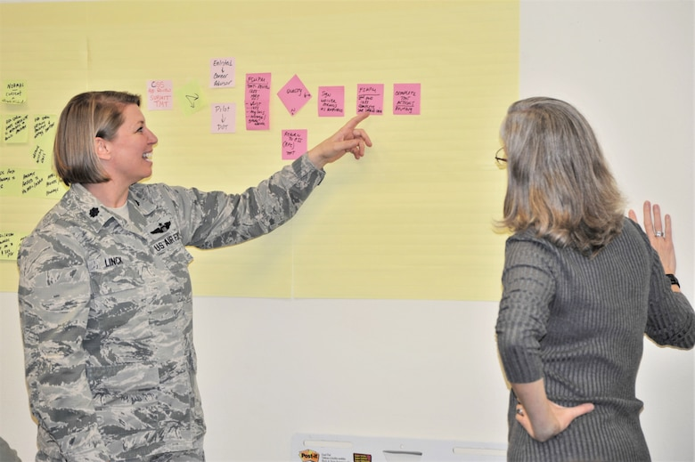 Lt. Col. Sara Linck (left) and Teresa Davies, 340th Flying Training Group process improvement managers, survey pay process road blocks during the Nov. 19-21 CPI event at Joint Base San Antonio-Randolph, Texas, to address pay issues that occur when Reserve members transition between pay statuses. (U.S. Air Force photo by Debbie Gildea)