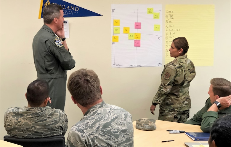 Col. Brent Drown, 340th Flying Training Group deputy commander receives an out brief from Master Sgt. Terri Wren, 43rd Flying Training Squadron following the continuous process improvement event held Nov. 19-21 at Joint Base San Antonio-Randolph, Texas, to address pay issues that occur when Reserve members transition between pay statuses. Drown stood in for the improvement process champion, 340th FTG Commander Col. Allen Duckworth. (U.S. Air Force photo by Janis El Shabazz)