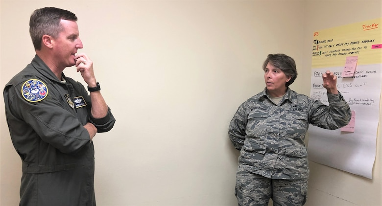 Senior Master Sgt. Amy Whitman-Rector, 340th Flying Training Group financial management superintendent, briefs Col. Brent Drown, 340th Flying Training Group deputy commander on counter measures her group devised to address pay issues that occur when Reserve members transition between pay statuses. Drown stood in for the improvement process champion, 340th FTG Commander Col. Allen Duckworth at the Nov. 19-21 event at Joint Base San Antonio-Randolph, Texas. (U.S. Air Force photo by Janis El Shabazz)