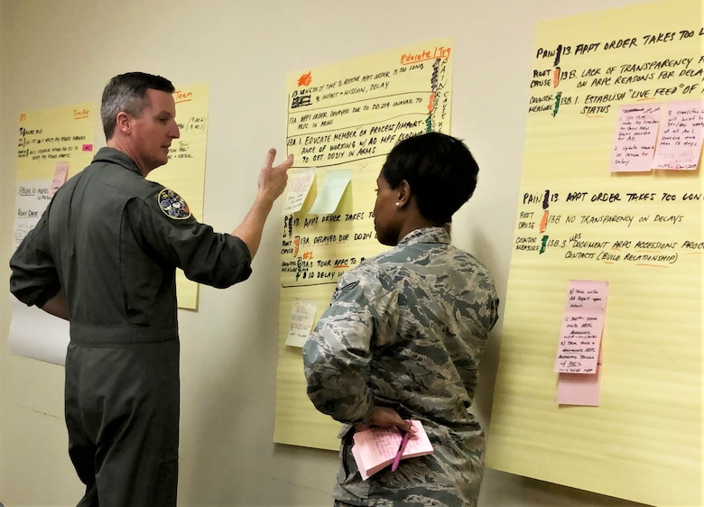 Tech. Sgt. Ecstacy Hardaway, 340th Flying Training Group force management technician, briefs Col. Brent Drown, 340th FTG deputy commander, on counter measures her group devised to address pay issues that occur when Reserve members transition between pay statuses. Drown stood in for the improvement process champion, 340th FTG Commander Col. Allen Duckworth, at the Nov. 19-21 continuous process improvement event at Joint Base San Antonio-Randolph, Texas. (U.S. Air Force photo by Janis El Shabazz)