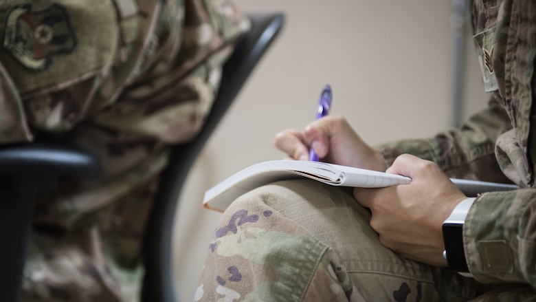 U.S. Air Force Staff Sgt. Courtney Muhl, 386th Air Expeditionary Wing occupational safety NCO-in-charge, jots down notes during a records inspection of the 386th Expeditionary Medical Group's safety programs at Ali Al Salem Air Base, Kuwait, Nov. 27, 2019. Muhl conducted an annual safety inspection of the clinic ensuring it complied with safety requirements, standards and programs. (U.S. Air Force photo by Tech. Sgt. Daniel Martinez)