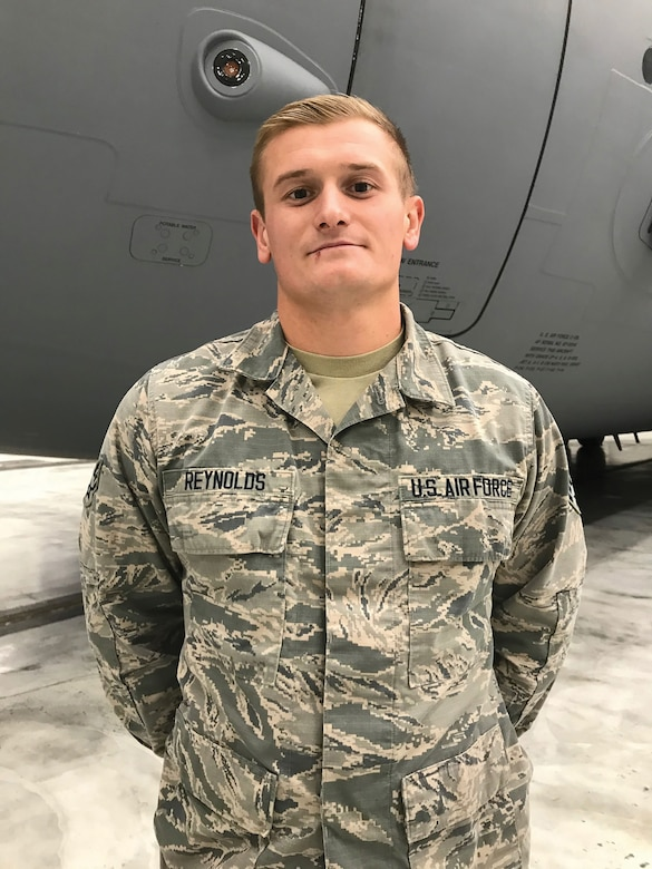Senior Airman Blake Reynolds, 445th Aircraft Maintenance Squadron crew chief, is the 445th Airlift Wing December Spotlight Performer.