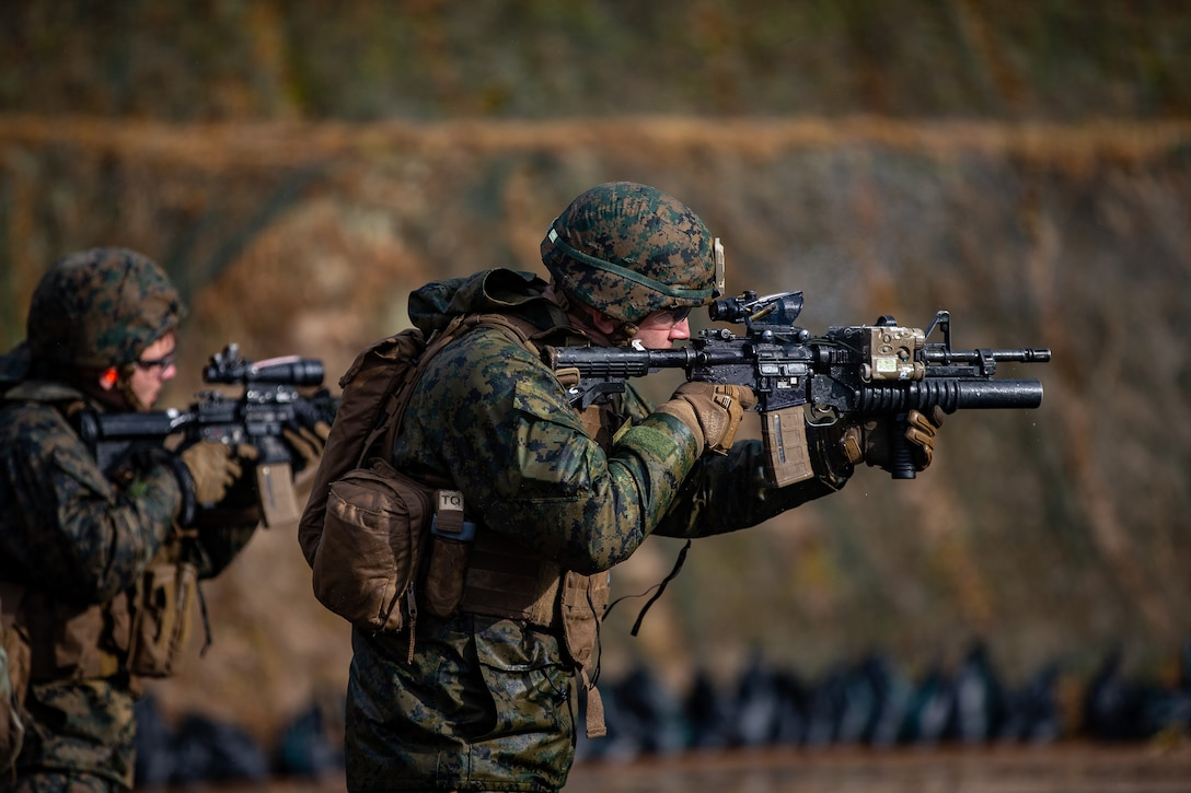 U.S. Marines with 1st Battalion, 25th Marine Regiment, currently assigned to 4th Marine Regiment, 3rd Marine Division, under the Unit Deployment Program, conduct a combat marksmanship range during Forest Light Middle Army in Aibano Training Area, Shiga, Japan, Dec. 3, 2019. Forest Light Middle Army is an annual training exercise that is designed to enhance the collective defense capabilities of the United States and Japan Alliance by allowing infantry units to maintain their lethality and proficiency in infantry and combined arms tactics.