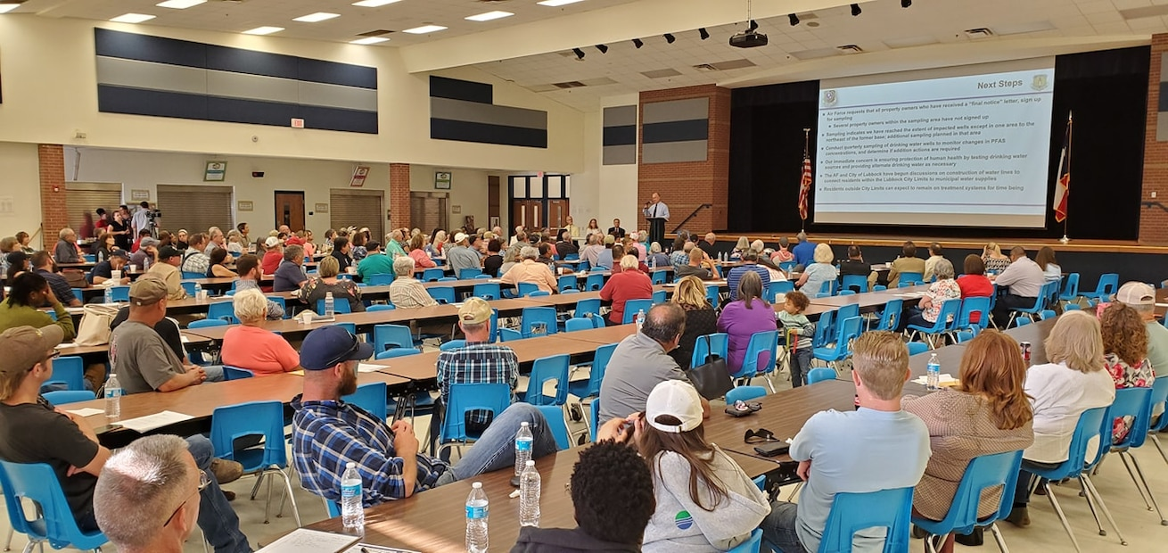Representatives with the Air Force Base Realignment and Closure program host a public meeting in Lubbock, Texas, June 6, 2019. The meeting was to update the local community on the PFAS remediation efforts at former Reese Air Force Base. (U.S. Air Force photo by Malcolm McClendon)