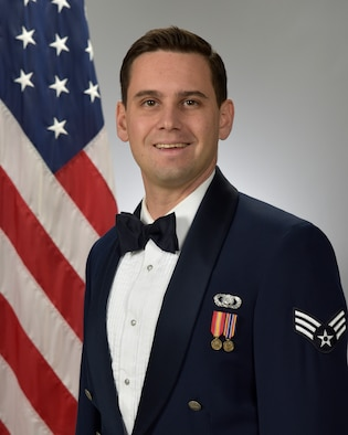 Official Photo of SrA Erick Eckstrom, percussionist with the Concert Band and Blue Steel, two of nine ensembles in the United States Air Force Academy Band, Peterson Air Force Base, Colorado.