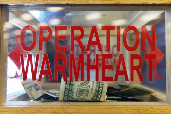 The 28th Bomb Wing First Sergeants Council has donation boxes around base where people can donate to Operation Warm Heart, a fundraiser that gives back to military members, at Ellsworth Air Force Base, S.D., Nov. 15, 2019. The money for Operation Warm Heart is used to provide assistance to civilian government employees, their families, retires and military members who need help financially. (U.S. Air Force photo by Airman Quentin K. Marx)