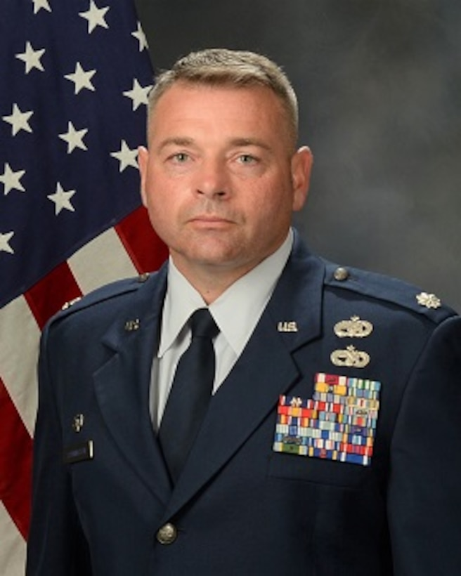 Lt. Col. Jerry Yarrington official photo with American flag background