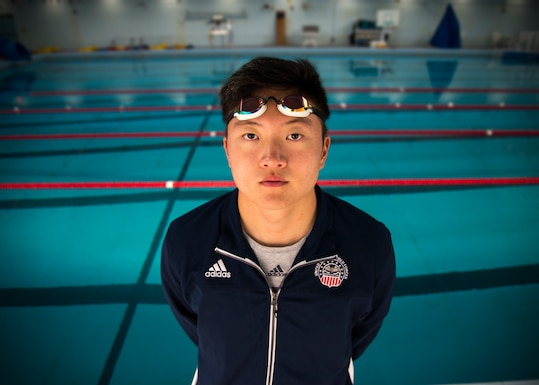 U.S. Air Force Airman 1st Class Michael Yoo, 366th Maintenance Squadron avionics backshop technician, stands poolside at the fitness center Nov. 18, 2019, on Mountain Home Air Force Base, Idaho. During the 2019 CISM Military World Games, Yoo competitively swam against the world's best military athletes in the 100 meter free, 50 meter breast and 4x100 medley relay. (U.S. Air Force photo by Airman 1st Class Andrew Kobialka)