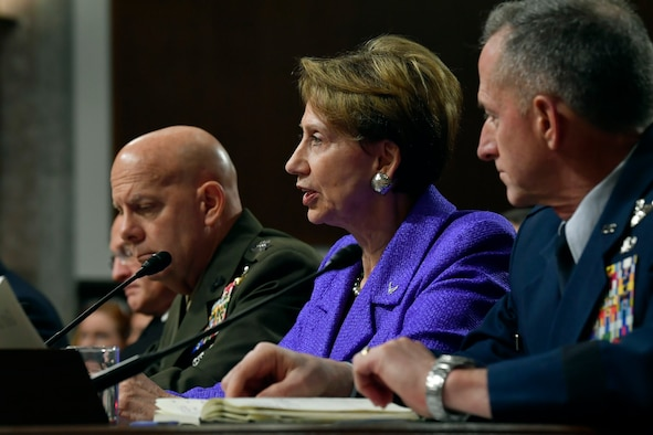 Secretary of the Air Force Barbara M. Barrett provides testimony to the Senate Armed Services Committee in Washington, D.C., Dec. 3, 2019. The committee examined privatized military housing for service members and their families. (U.S. Air Force photo by Wayne Clark)