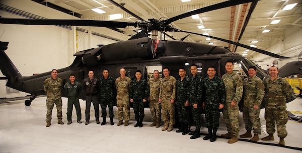Members of the Royal Thai Army and Washington National Guard during the Military Operations Other than War exchange Nov. 21, 2019, at the Army Aviation Support Facility, Joint Base Lewis-McChord, Wash.
