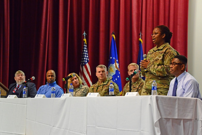 Photo shows Maj. LaToshia Wright, 78th Force Support Squadron deputy director, speaking to members of Team Robins.