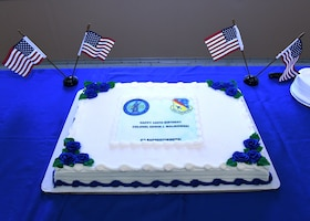 The 104th Fighter Wing threw a suprise birthday for retired Col. Edwin J. Malikowski on November 25, 2019. Malikowski turns 100 years old on November 29, 2019 and spent 39 years in service  through the Army and Air National Guard. His combat record includes service in Northern France, Ardennes- Alsace, Germany and Central Europe. (U.S. Air National Guard Photo by Airman Camille Lienau)