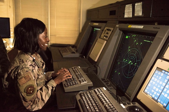 U.S. Air Force Staff Sgt. Keona Woods, 39th Operations Support Squadron radar approach and control watch supervisor, monitors the surrounding airspace Nov. 25, 2019, at Incirlik Air Base, Turkey. Air Force RAPCON facilities conduct 24/7 surveillance of their airspaces to ensure safe air traffic within their respective areas of responsibility. (U.S. Air Force photo by Staff Sgt. Joshua Magbanua)