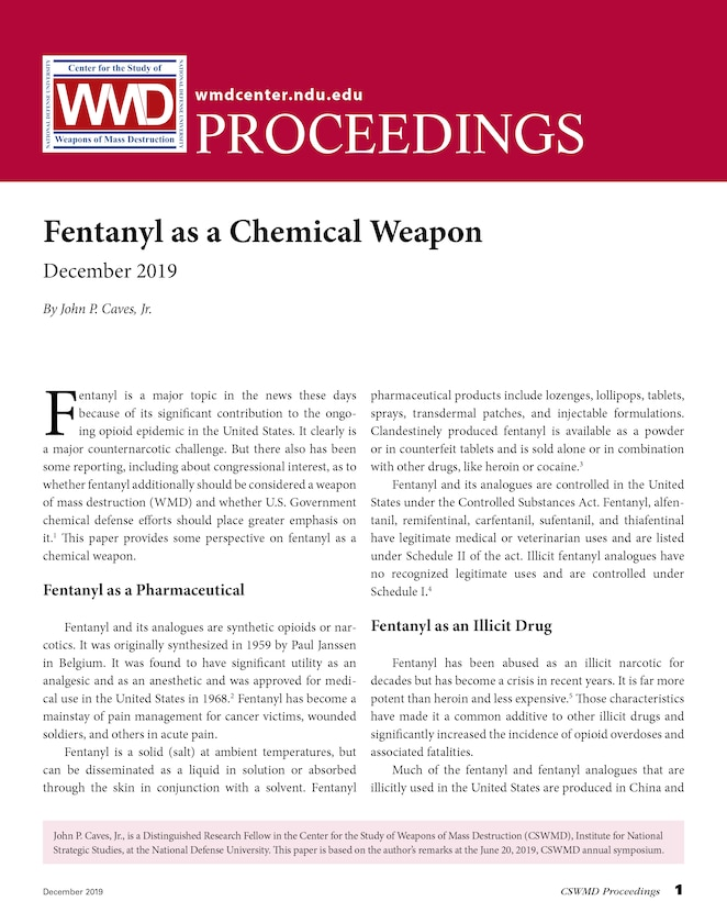 Fentanyl as a Chemical Weapon