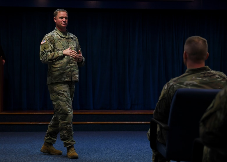 U.S. Army Col. Bryan Morgan, 128th Aviation Brigade commander, speaks during the Instructor of the Year ceremony at Joint Base Langley-Eustis, Virginia, Nov. 21, 2019.