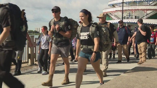 During the Detroit Ruck civilians from all over the state join their heroes in walking with heavy backpacks, or rucksacks. It's a way to say thank you to our military members for carrying the weight of our freedom.