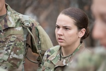 Pfc. Katelyn Castro arrives for Basic Combat Training, at Fort Leonard Wood. Mo., from her hometown of Joplin, Mo., on Oct. 28, 2019.