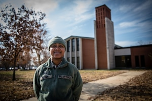 Tech. Sgt. Brandy Brown, religious affairs Airman, 932nd Airlift Wing Chaplain's Office, poses for a photo outside of Scott Air Force Base's Chapel 1 Nov. 16, 2019. Brown supports Airman's religious accommodations during unit training assemblies and assists with worship services.  (U.S. Air Force photo by Christopher Parr)