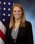 Leann Gaviglio official photo with American flag in background