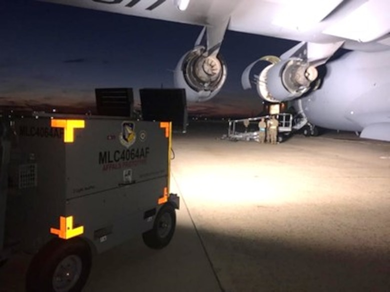New LED lamps on the Advanced Flight line Power and Light System were evaluated by maintainers during actual night shift operations on the C-17 Globemaster. Operator feedback is critical to ensure alignment of the capabilities with the user needs. (U.S. Air Force photo/Master Sgt. John Bono)