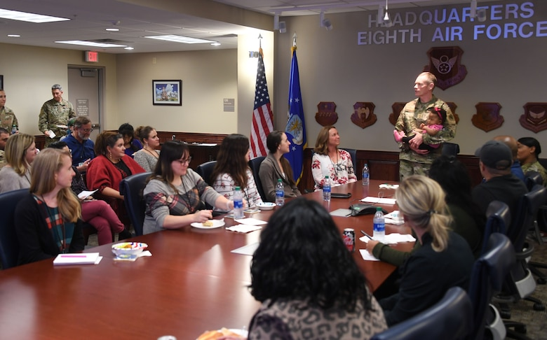 U.S. Air Force Maj. Gen. James Dawkins, Jr., 8th Air Force and Joint-Global Strike Operations Center commander, welcomes more than 30 military spouses to the unit's first Spouses' Orientation at headquarters 8th Air Force, Barksdale AFB, La., Nov. 18, 2019. Spouses received a mission immersion, toured the different J-GSOC centers and gained a firsthand look at the contributions of their military spouses. The event was held to promote communication and shared knowledge within the Airmen's home lives.