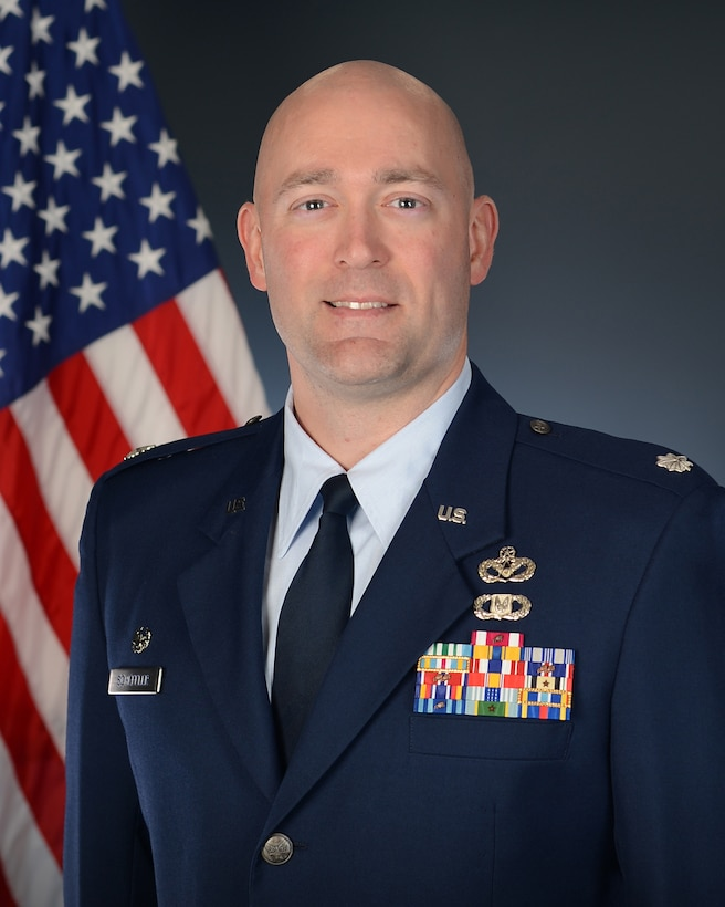 Lt Col Timothy Scheffler official photo with American flag background