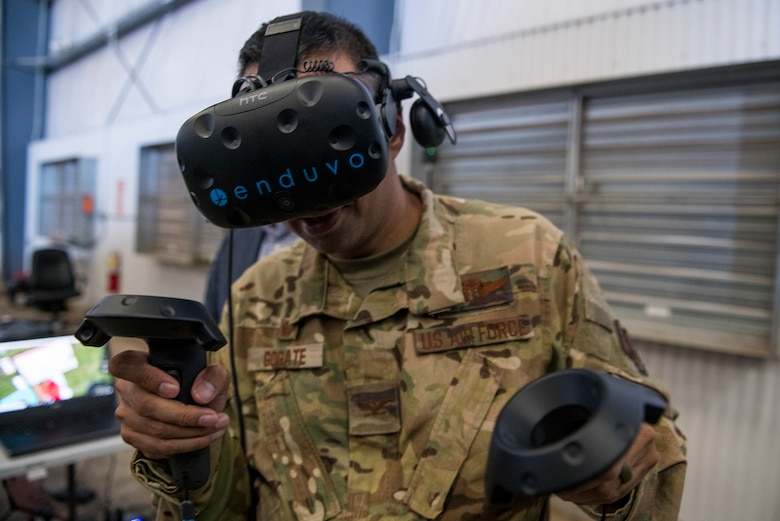 Col. Sanjay A. Gogate, 27th Special Operations Medical Group commander, uses the Enduvo virtual reality system during the Medic Rodeo at Cannon Air Force Base, N.M., Sept. 17, 2019. The Enduvo system was set up during the event to allow medical Airmen the chance to interact with their virtual reality medical lessons. (U.S. Air Force photo by Senior Airman Vernon R. Walter III)