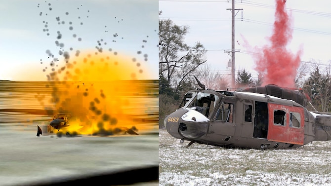 Constructive and live helicopters explode simultaneously after a strike by a virtual A-10 during a demonstration at the National Center for Medical Readiness in Fairborn, Ohio, Nov. 14. The mirrored constructive and live simulation effects create a more relevant and realistic training experience. (U.S. Air Force graphic)