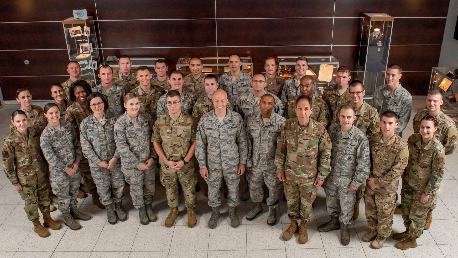 Air Force Space Command Deputy Commander Maj. Gen. John Shaw (front row, fourth from right) welcomes participants of AFSPC's first-ever Direct Ascent Program at Peterson Air Force Base, Colorado, Oct. 16, 2019. This program is created to develop today's mid-level officer and enlisted leaders on the criticality of space capabilities to the multi-service, multi-domain battle and need to ensure freedom of action in space, while denying potential adversaries the same. (U.S. Air Force photo by Dave Grim)