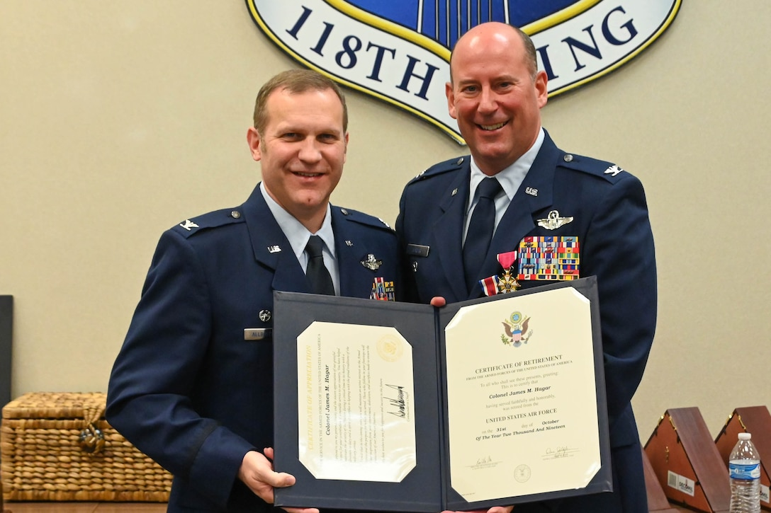 """Col. James """"Marty"""" Hagar celebrates the occasion of his retirement from the Tennessee Air National Guard at Berry Field Tennessee Air National Guard Base in Nashville, Tenn. on Nov. 2, 2019."""